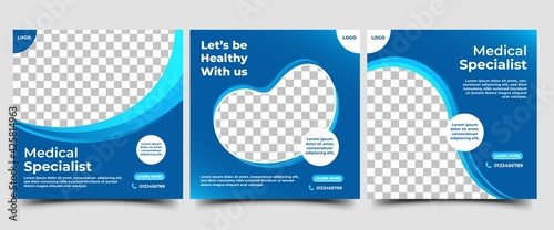 Canvas Print Set of Medical square banner design template