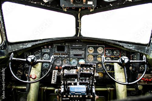 WWII bomber - cockpit inside Fotobehang
