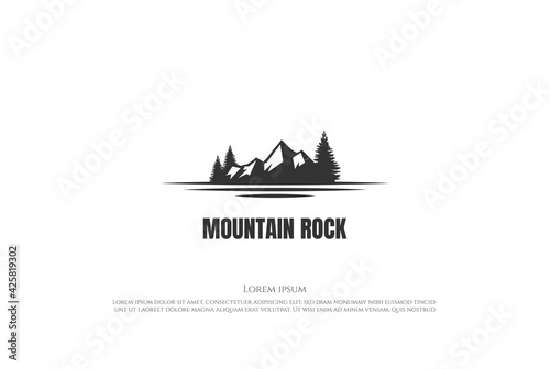 Fototapeta Ice Snow Mountain with Pine Spruce Cedar Evergreen Larch Cypress Hemlock Trees a