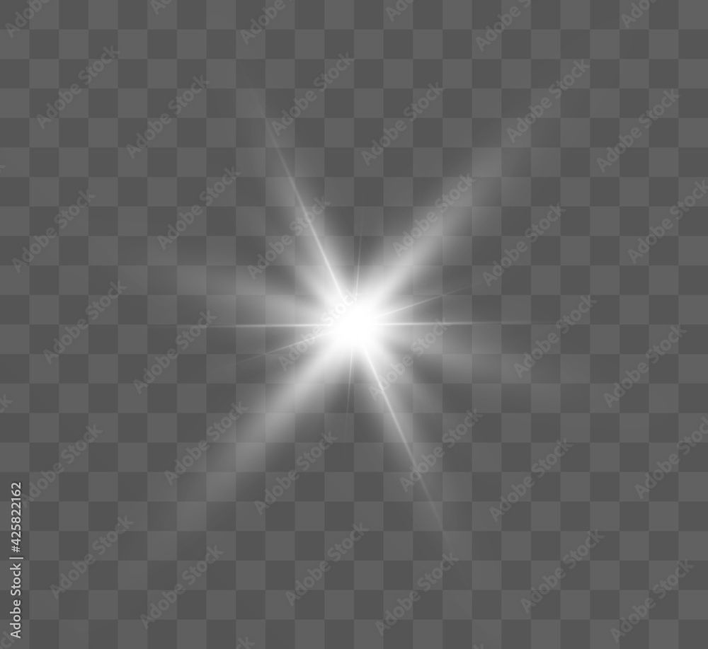 Fototapeta White glowing light explodes on a transparent background. Bright Star. Transparent shining sun, bright flash. Vector graphics.