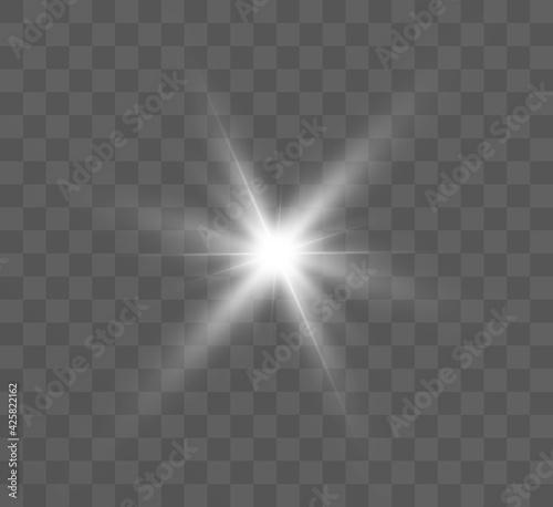 Fotografie, Obraz White glowing light explodes on a transparent background