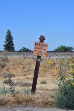 Warning No Trespassing Sign Near The Railroad Tracks