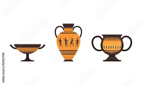 Fotografia Set of Ancient Rome Empire Symbols, Antique Vessels Flat Vector Illustration