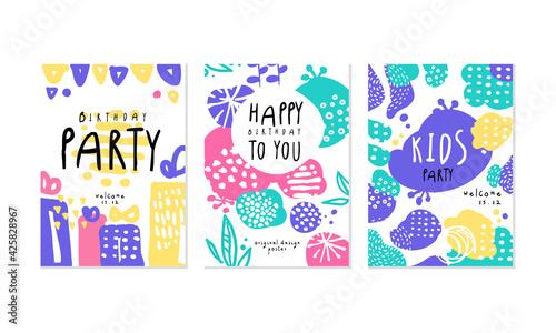 Obraz Birthday Party Card Templates Set, Happy Children Holiday Banner, Poster Hand Drawn Vector Illustration - fototapety do salonu