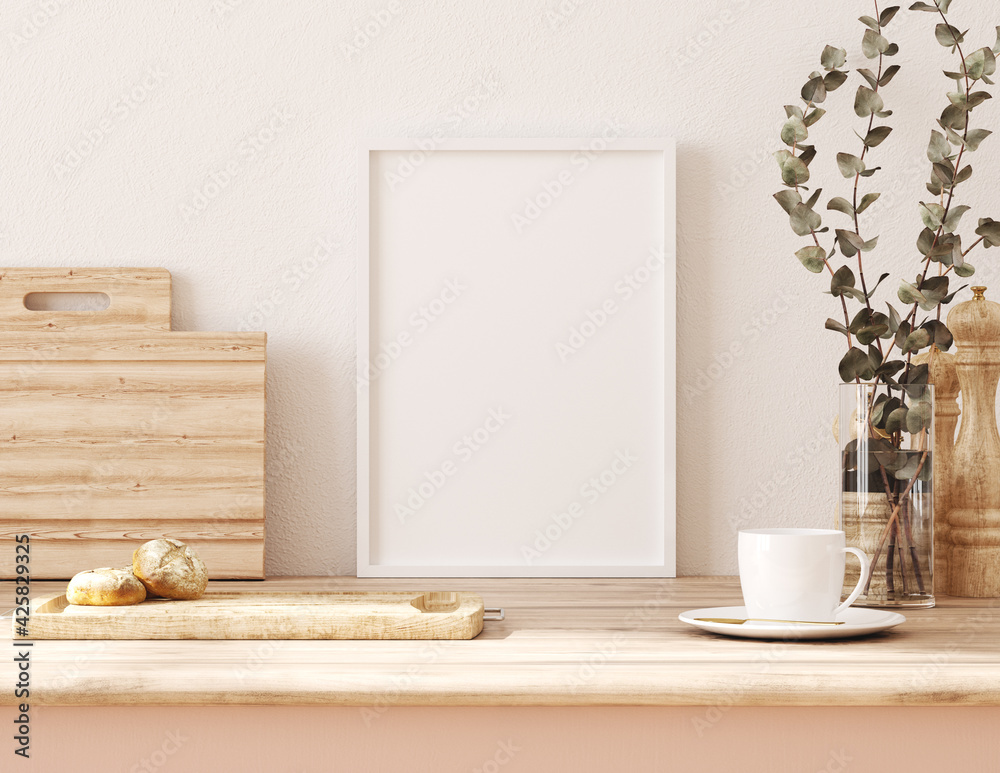 Fototapeta Frame mockup in kitchen interior background, Farmhouse style, 3d render