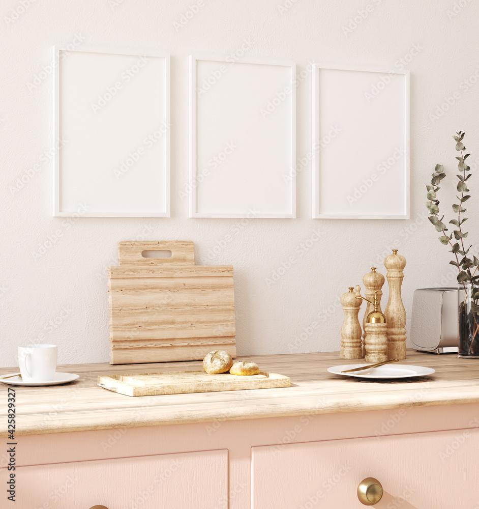 Leinwandbild Motiv - artjafara : Frame mockup in kitchen interior background, Farmhouse style, 3d render