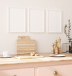 Leinwandbild Motiv Frame mockup in kitchen interior background, Farmhouse style, 3d render