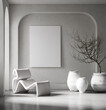 Canvas mockup in minimalist interior background with armchair and rustic decor, 3d render