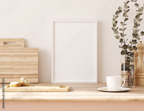 Frame mockup in kitchen interior background, Farmhouse style, 3d render