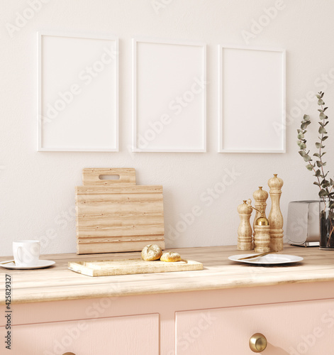 Photographie Frame mockup in kitchen interior background, Farmhouse style, 3d render