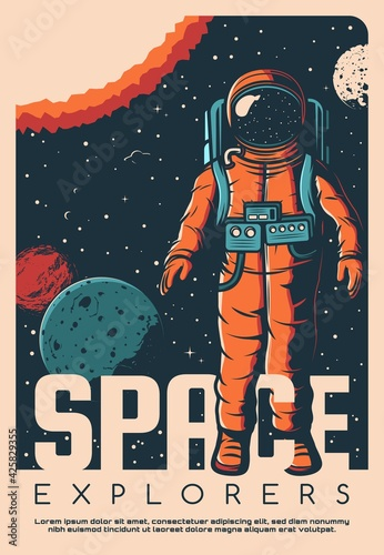 Leinwand Poster Space exploration astronaut vintage poster