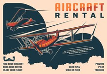 Rental Aircraft Tours, Private Pilot School Retro Poster. Historical Propeller Airplanes, Flying In Clouds Vintage Biplanes Engraved Vector. Aviation Club, Flying Instructor Classes Promotion Banner