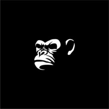 Angry Monkey Ape Head Character Illustration Logo Icon Vector