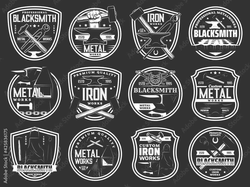 Fototapeta Blacksmith steel forging, iron and metal works workshop vector icons. Blacksmith foundry anvil and hammer in hand signs and metalwork emblems, forged products and custom iron works equipment tools