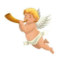 Cupid Angel Or Amur Cartoon Character Blowing Horn. Vector Valentines Day Cherub Or Cupid Angel Playing A Love Song Music, Romantic Holiday Greeting Card Or Wedding Party Invitation Character
