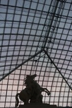 Silhouette Of Horse Statue With Backdrop Of Glass Building Structure