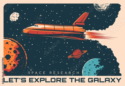 Tablou Canvas Space shuttle galaxy exploration retro vector poster