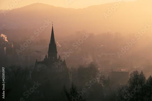 Fototapeta Rabka Zdrój o wschodzie słońca obraz