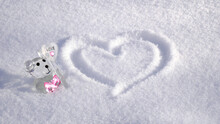 Heart In The Snow With A Bear