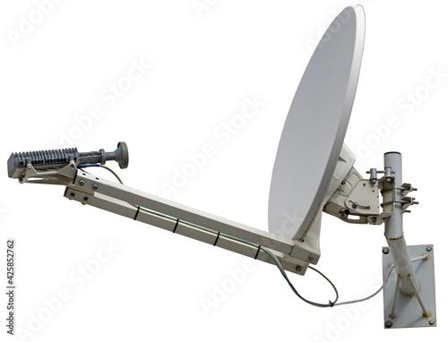 Billede på lærred satellite dish antenna isolated on white