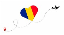 Airplane Flight Route With The Romania Flag Inside The Heart. Travel To Your Beloved Country.
