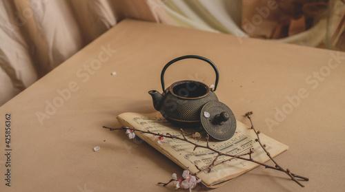 Fotografia, Obraz sakura tea ceremony on beige background