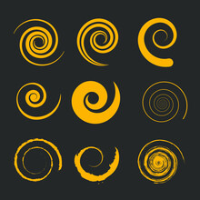 Set Of Yellow Spiral Shapes. Gray Background. Vector Illustration. Brush Strokes. Trendy Artistic Design Collection For Signs, Banners, Emblems, Badges, Prints, Web And Template. Isolated