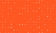 Seamless Background Pattern Of Evenly Spaced White Rocket Symbols Of Different Sizes And Opacity. Vector Illustration On Deep Orange Background With Stars