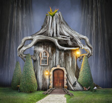 Fairy Tree House With Roof Of Roots In Fantasy Forest