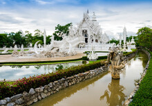 Stunning View Of Wat Rong Khun, The White Temple In Chiang Rai, Thailand