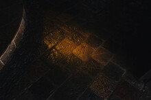 """Mexico, Valle De Bravo March 26, 2021, View Of The Stone Floor That Is Illuminated With Sunlight Through A Stained Glass Window Found In The """"Casa De Oración Carmel Maranatha"""""""