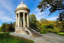 Gazebo Tower In Romanescu Park, Craiova City, Romania, On A Clear Autumn Day.