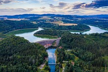 Aerial View Of The Lake Dam. Pilchowice Village On Lower Silesia. Poland.