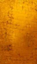 Vintage Golden Wall With Matte Paint Texture With Gilded Effect, Dark Stains And Scratches On Surface.