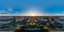 Aerial Panoramic View From A Drone To The Sunset Over The City Of Kyiv On Obolonskaya Embankment