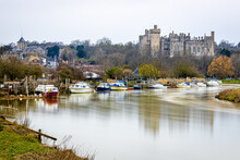 The View Of Arundel Castle, A Restored And Remodelled Medieval Castle In Arundel, West Sussex, England