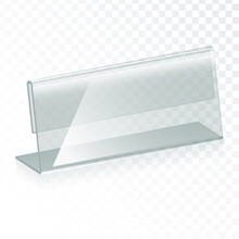 Acrylic Table Tent, Card Holder Isolated On Transparent Background. Vector Glass Display Stands. Clear Plastic, Plexi Or Plexiglass Restaurant Menu Mockup. Eps10 Vector Illustration.