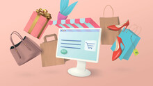 Online Shopping On Your Home Computer. Conceptual Banner With Shopping Items In The Form Of Bags, Women's Shoes And Gifts.