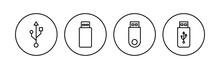 Usb Icon Set. Flash Disk Icon Vector
