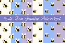 Cute Chubby Bees Seamless Pattern Set