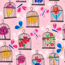 Pink  Vector Seamless Pattern Of Bird Cages, Butterflies Flowers In A Cute Color Palette. Vector Summer Background.