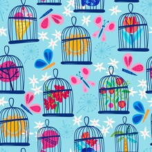 Blue Vector Seamless Pattern Of Bird Cages, Butterflies Flowers In A Cute Color Palette. Vector Summer Background.