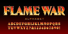 Flame War; A Stylized Serif Font With Outlines Suggesting Fire Or Licking Flames. Good For Banners, Game Logos, Movie Titles, Etc.