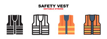 Safety Vest Icon Set With Different Styles. Icons Designed In Filled, Outline, Flat, Glyph And Line Colored. Editable Stroke And Pixel Perfect. Can Be Used For Web, Mobile, Ui And More.