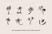 Vector Brush Stroke Palm Tree Logo Set