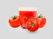 A Glass Of Tomato Juice, Tomato Set. Collection Of Red Tomatoes.Photorealistic Vector Images Isolated On White Background.