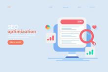 SEO Optimization, Search Engine Ranking Page, Web Traffic Data Monitoring, Digital Marketing Internet Communication Technology. Flat Design Web Banner.