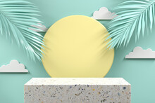 Minimal Mockup Podium Terrazzo With Palm Leaf On Mint Pastel Abstract Background 3d Render