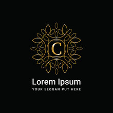 Luxury Gold Monogram Ornament Letter C Logo Design Vector Icon