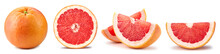 Collection Grapefruit Isolated On White Background. Taste Grapefruit With Clipping Path